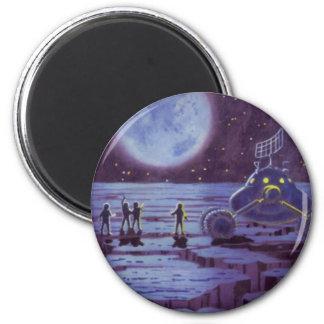 Vintage Science Fiction, Sci Fi Alien Moon Landing 2 Inch Round Magnet