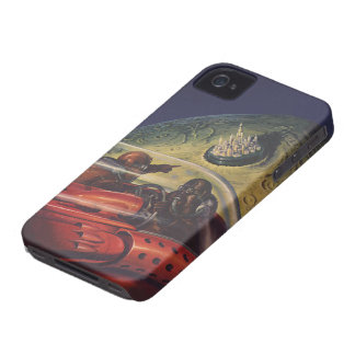Vintage Science Fiction, Sci Fi City on the Moon iPhone 4 Case-Mate Cases