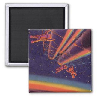 Vintage Science Fiction, Sci Fi Rainbow Astronauts Square Magnet