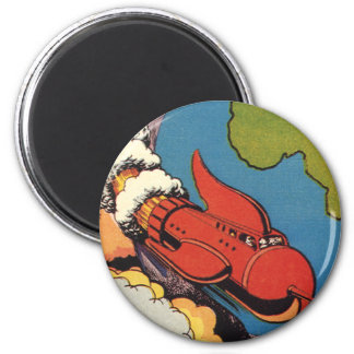 Vintage Science Fiction, Sci Fi Rocket over Earth 2 Inch Round Magnet
