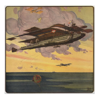 Vintage Science Fiction Seaplane Airplane Ship Poster
