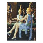Vintage Science Fiction Spa Beauty Salon Manicures Postcard