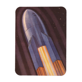 Vintage Science Fiction Space Ship Rockets Rectangular Photo Magnet
