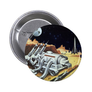 Vintage Science Fiction, Space Station on the Moon 2 Inch Round Button
