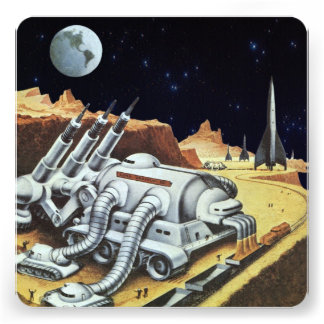 Vintage Science Fiction Space Station on the Moon Personalized Invites