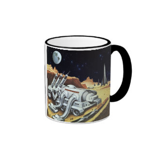 Vintage Science Fiction, Space Station on the Moon Ringer Coffee Mug