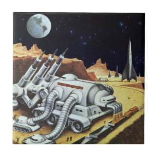 Vintage Science Fiction, Space Station on the Moon Tile