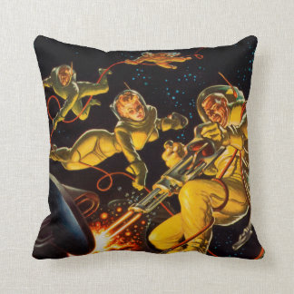Vintage Science Fiction Space Walk Astronauts Throw Pillow