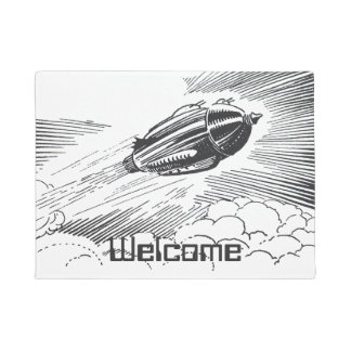 Vintage Science Fiction Spaceship Rocket in Clouds Doormat