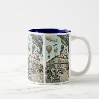 Vintage Science Fiction, Steam Punk Victorian City Two-Tone Coffee Mug