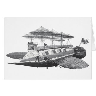Vintage Science Fiction Steampunk Airship Eclipse Greeting Card