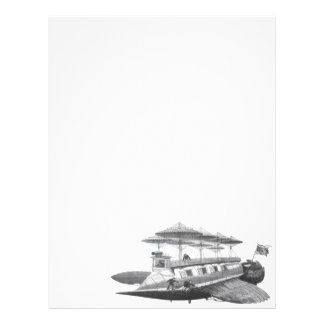 Vintage Science Fiction Steampunk Airship Eclipse Letterhead Template