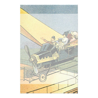 Vintage Science Fiction Steampunk Convertible Car Stationery Paper