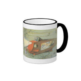 Vintage Science Fiction Steampunk Submarine in Sea Ringer Mug