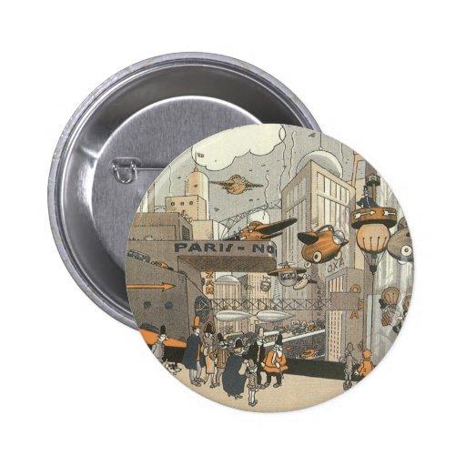 Vintage Science Fiction Steampunk Urban Paris Button
