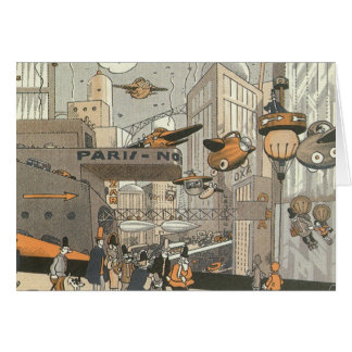 Vintage Science Fiction Urban Paris, Steam Punk Greeting Card