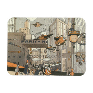 Vintage Science Fiction Urban Paris, Steam Punk Rectangular Photo Magnet