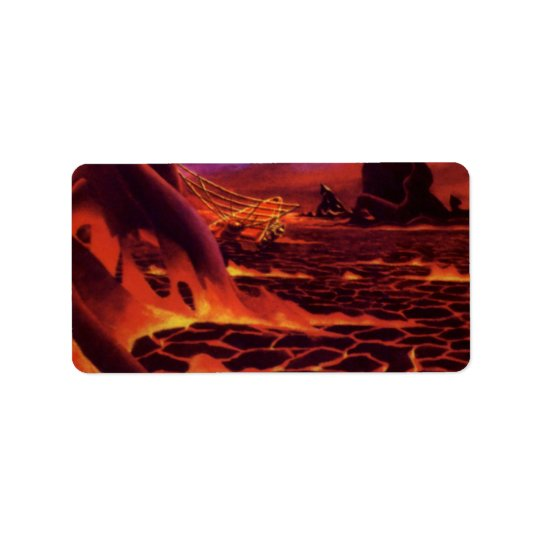 Vintage Science Fiction Volcano Planet w Red Lava