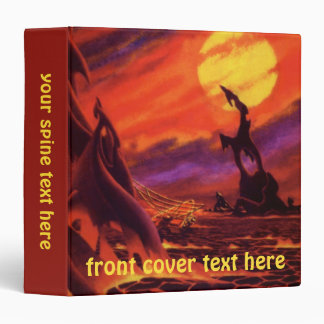 Vintage Science Fiction Volcano Planet w Red Lava 3 Ring Binder