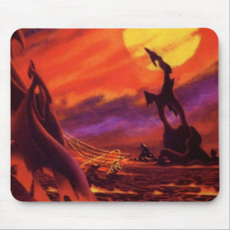 Vintage Science Fiction Volcano Planet w Red Lava Mouse Pad