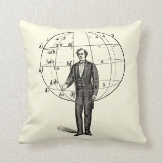 Vintage Scientific Illustration of a Man Gesturing Throw Pillow