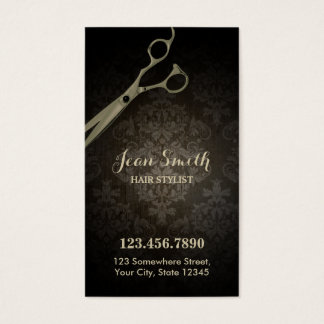 Vintage Scissor Damask Hair Stylist Business Card