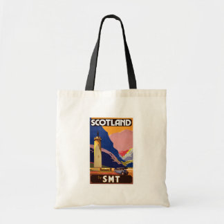 """Vintage Scotland Bus Company Travel Poster"" Tote Bags"