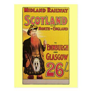 Vintage Scotland by train travel ad Print Postcard