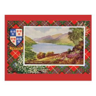 Vintage Scotland, Fraser tartan, Loch Long Postcard