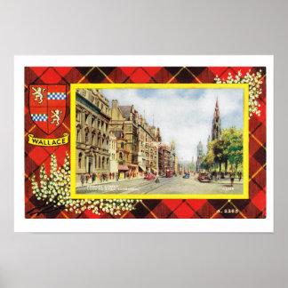 Vintage Scotland, Wallace tartan, Princes Street Poster