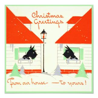 Vintage Scottie Dog Christmas Card