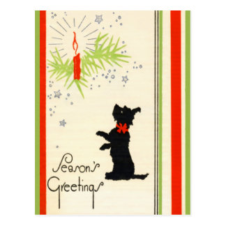 Vintage Scottie Dog Christmas Postcard