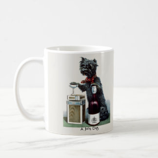 Vintage Scottie with Champagne Coffee Mugs