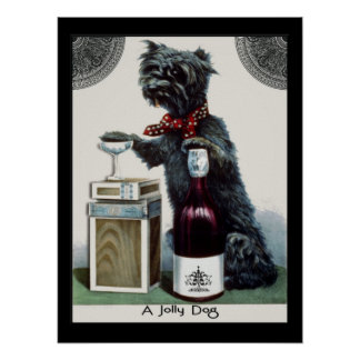 Vintage Scottie with Champagne Poster