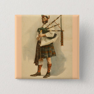 Vintage Scottish Highland BagPipe Player Kilt Man 2 Inch Square Button