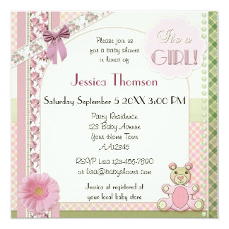 Vintage Scrapbook Baby Girl Shower Invitation