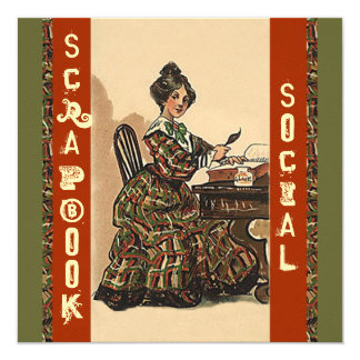 Vintage Scrapbooking Invitation Party Social craft