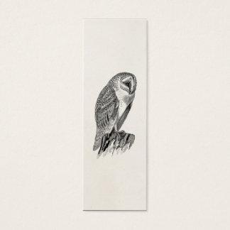 Vintage Screech Owl Bird Illustration Template Mini Business Card