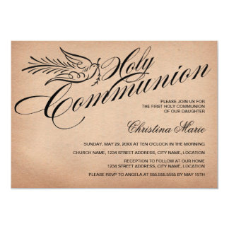 "Vintage Script Dove and Cross First Holy Communion 5"" X 7"" Invitation Card"