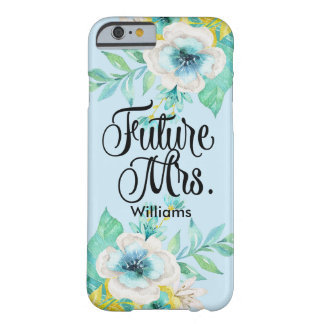 Vintage Script Gold Mint Floral iPhone 6 Case Barely There iPhone 6 Case