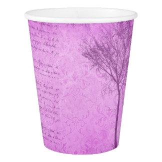 Vintage Script Purple  Tree Party Paper Plates Paper Cup