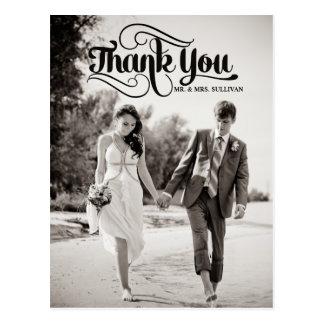 Vintage Script Wedding Thank You Photo Postcard