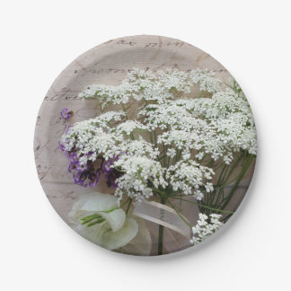 Vintage script with white flowers 7 inch paper plate