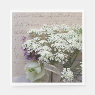 Vintage script with white flowers paper napkin