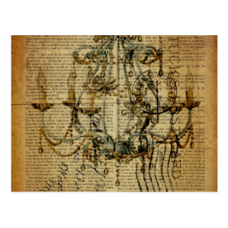 vintage scripts French Country Vintage Chandelier Postcard