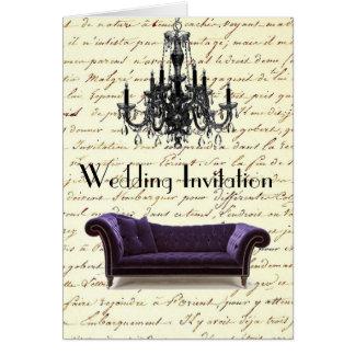 vintage scripts paris chandelier wedding card