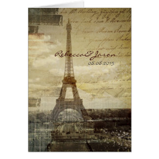 vintage scripts Paris Eiffel Tower Wedding Card