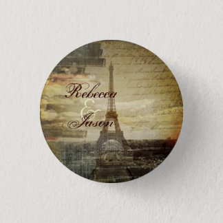 vintage scripts Paris Eiffel Tower Wedding favor 1 Inch Round Button
