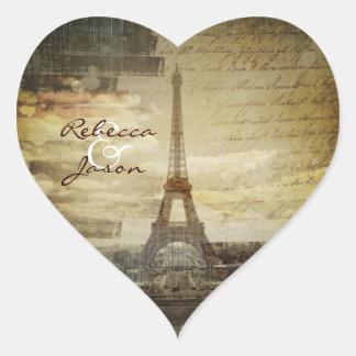vintage scripts Paris Eiffel Tower Wedding Heart Sticker