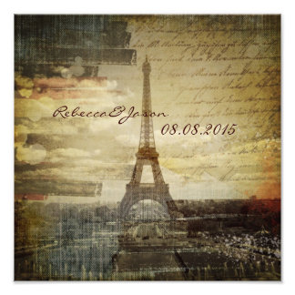 vintage scripts Paris Eiffel Tower Wedding Photo Print